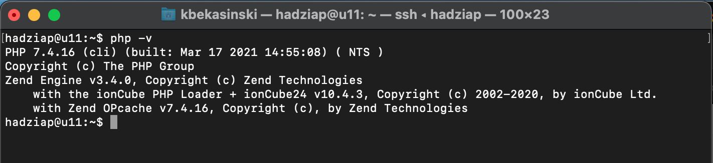 nowa domyślna wersja PHP